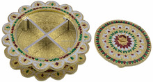 PD Craft Round Golden Meenakari Rangoli design 4 compartment gift box for wedding / birthday / corporate / Christmas / Diwali