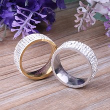 Unisex Women Men 5 Row Crytral Zircon Jewelry Gold Silver Stainless Steel Wedding Band Rings