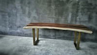 Dining Table Suar Wood with Antique Metal