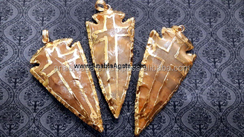 Gemstone Arrowhead Pendant : Wholesale Agate Arrowhead Pendants : Fancy Jasper