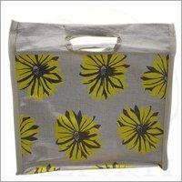 Reusable Natural Color Flower printed Jute shopping bag with bamboo and self cut handle