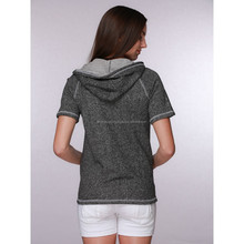 women's false two pieces short sleeve pullover hoodie