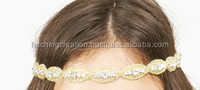 small golden beaded with silver stone chain hand made headband hair band head piece hair tie