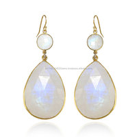 Light Weight gold Earring Pure silver Material Rainbow Moonstone Fancy Wear Jewelry Item