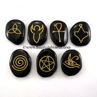 Pagan / Wiccan / Gothic Symbols Engraved On Black Agate