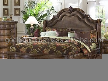 Indian Extra ordinary handmade design made Exquisite San Mateo Sleigh Panel Bed.