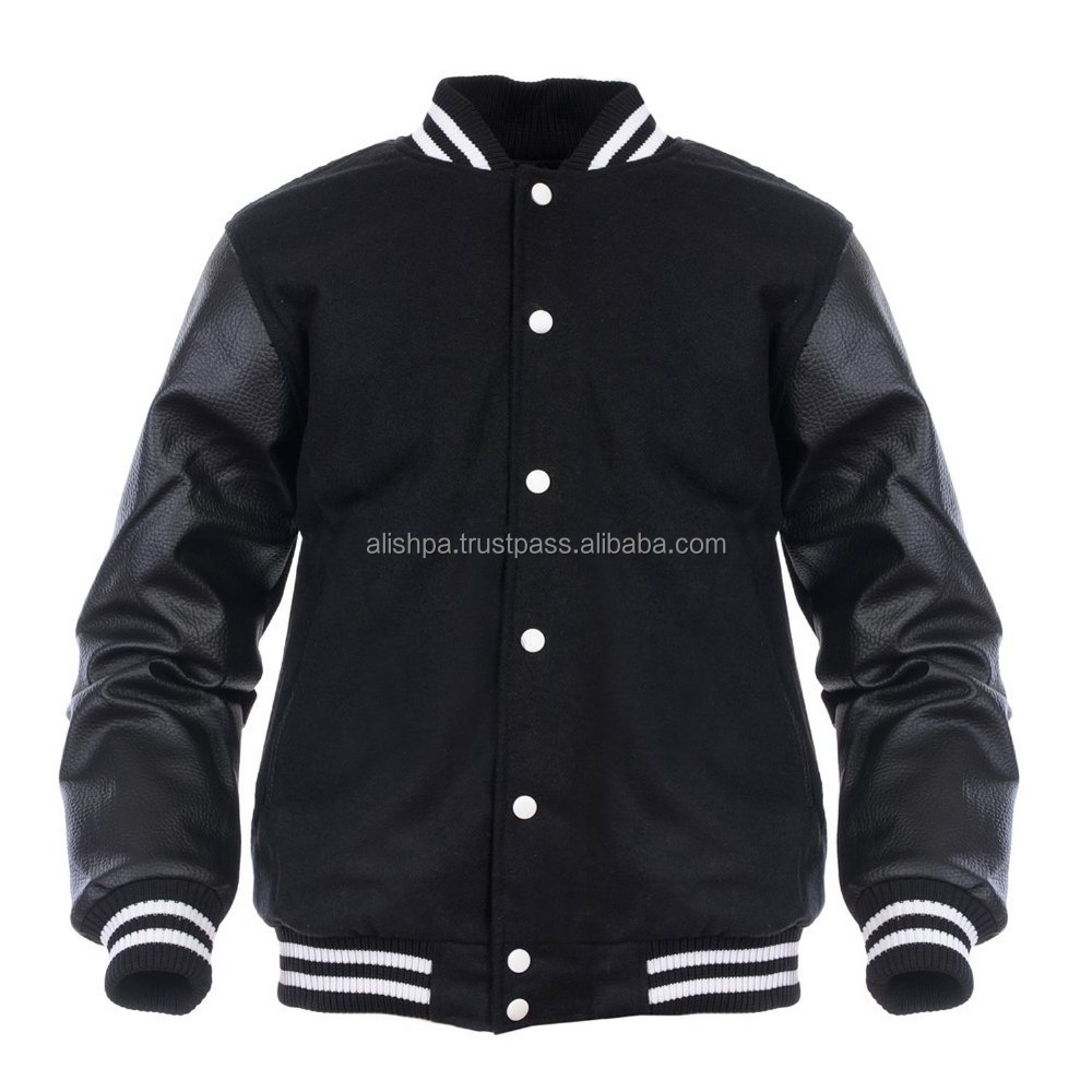 Angel Cola Black & Black Retro Varsity Wool & Synthetic Leather Letterman Jacket