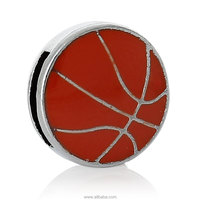 Spacer Slider Beads Basketball Red Enamel Silver Tone Cord) About 13.0mm x 13.0mm, 10 PCs