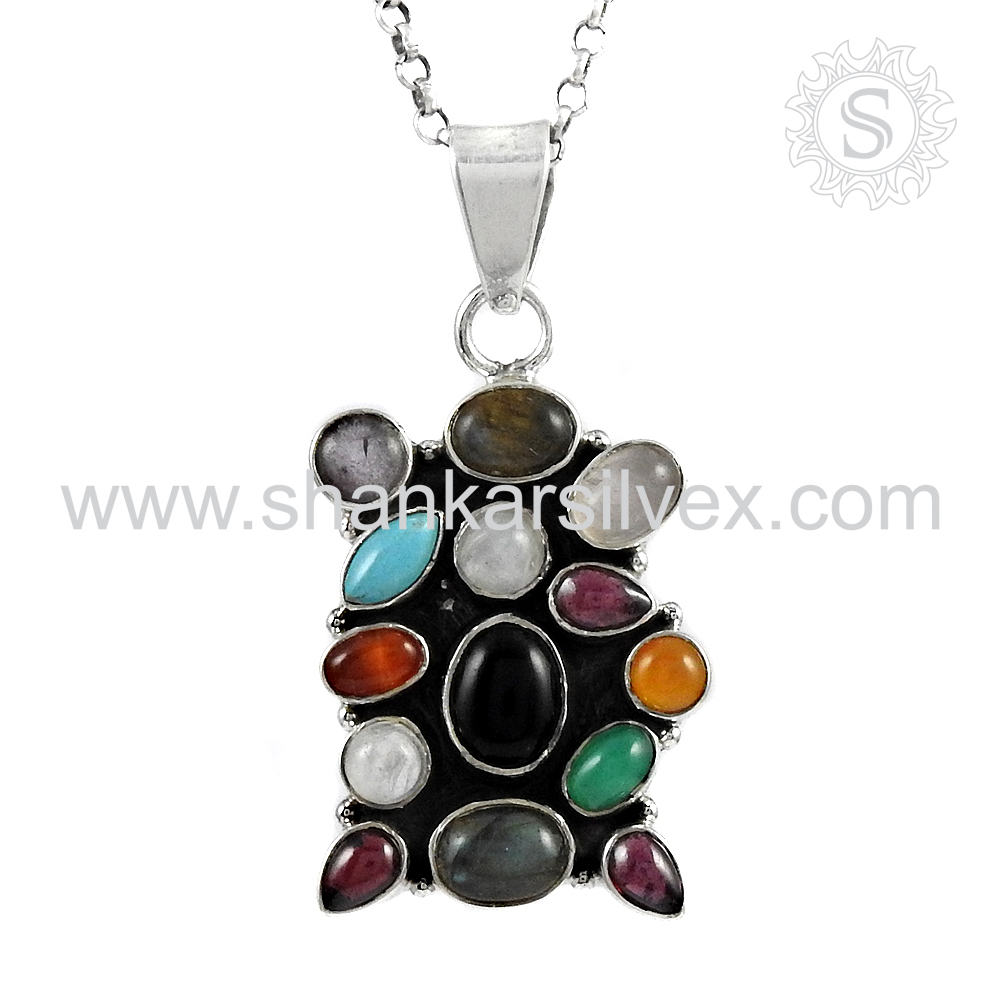 Resplendent Multi Stone Pendant Manufacturer 925 Silver Jewelry Gems Pendant Wholesale Silver Jewelry