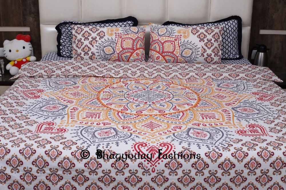 Top Quality Quilt Soft Organic Cotton Printed Indian Mandala Jaipuri Razai