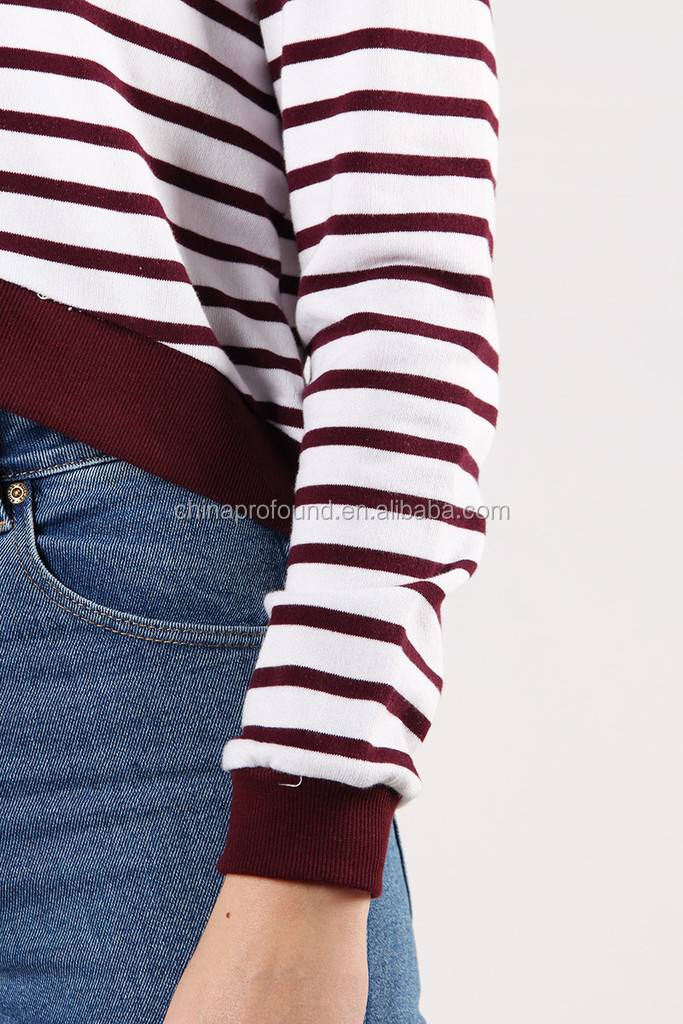 Wholesale fashion comfort color stripe fabric cropped sweatshirts