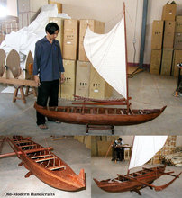 Hawaiian single-hull canoe L200 - Vietnam handmade wooden model boat