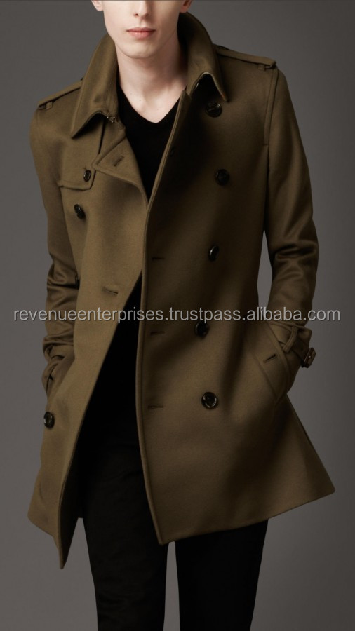 men's wool and cashmere trench coat/high quality men's wool and cashmere trench coat