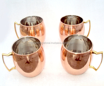 WHOLESALE MANUFACTURER BPA FREE 100% COPPER MOSCOW MULE MUG SET OF 4 MUGS NICKLE LINED