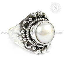 Fresh Water Pearl Bezel Ring 925 Silver Jewelry Supplier Indian Silver Jewellery Wholesaler