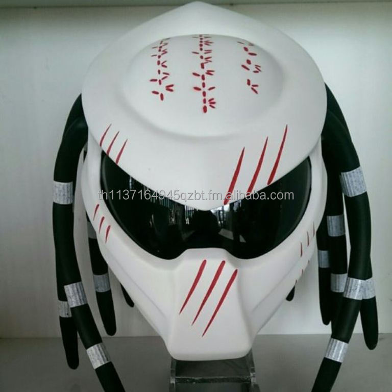 White with Red Claw Predator Motorcycle DOT/ECE Helmet Fancy Movie Costume