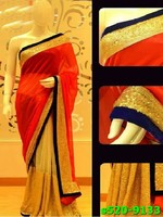 Indian Bollywood Pure Net And Velvet Designer Saree