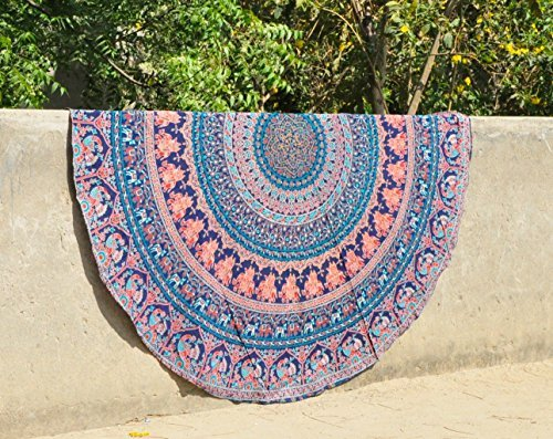 "Indian Round Peacock Mandala Tapestry Hippie Round Roundie Wall Hanging Beach Towel Throw Yoga Mat small Round Tapestry 48"" Inch"