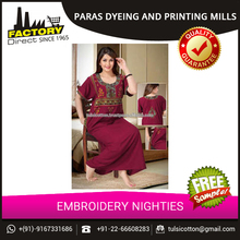 Long Fancy Embroidery Nighties from Mozak Fashions Pvt Ltd