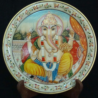 Marble Thali Plate Handicraft Religious Gift