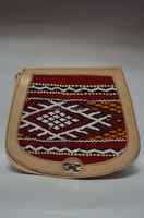 Goat leather handbag, with stitched Kilim for women