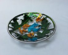 round coloured bird desiging antique bowl