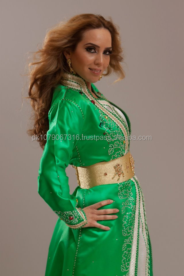 Parrot green with med golden stylish moroco kaftan