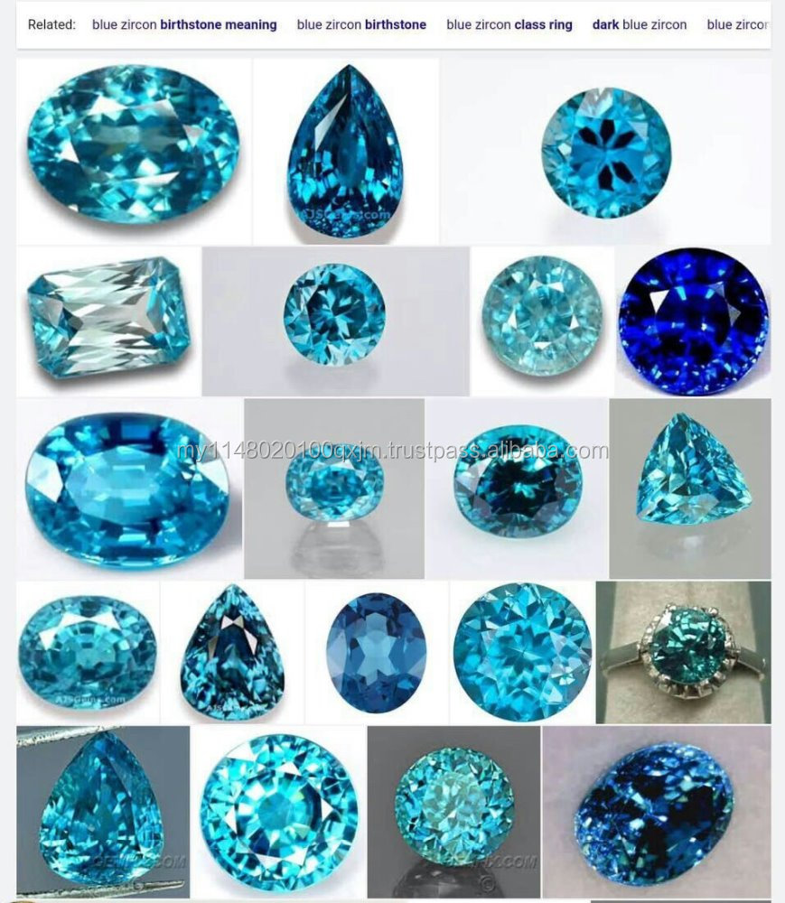 Blue natural zircon from cambodia