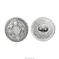 "Shank Metal Button Round Antique Silver Single Hole Circle Pattern 17mm x 16.5mm( 5/8"" x 5/8""), 20 PCs"