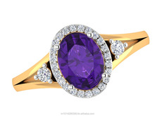 SGL Certified Natural diamond Real Oval Amethyst Gemstone 14k Yellow Hallmark Gold Lovely Ring Wholesale