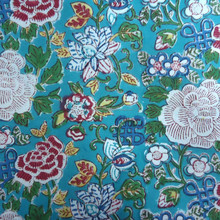 Cotton 20 Sheeting Fabric Hand Block Printed FLORAL CANVAS JADE Block Printed Fabric