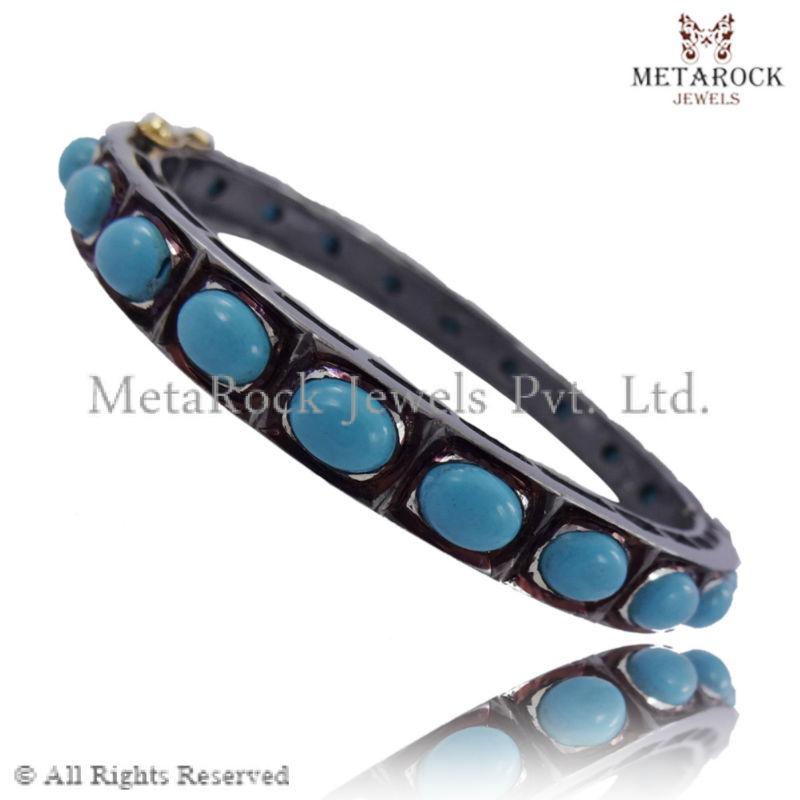 Turquoise Gemstone Pave Setting Jewelry Bangle, 925 Sterling ...