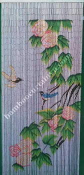 Wall hanging painted bamboo door curtain bird and flower