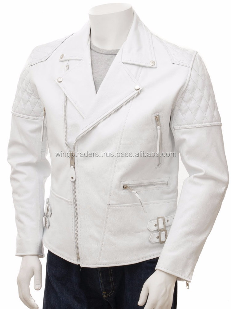 Slim fit New Winter Season White Leather Jacket Motorcycle Men Motorcycle Size S M L XL XXL