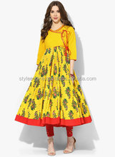 PRINTED LONG ANARKALI WITH 3/4TH SLEEVES