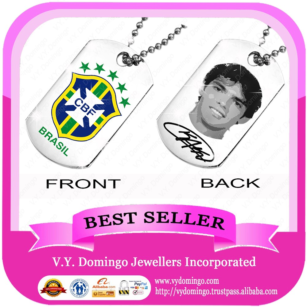 HOT SALE sterling silver pendant with ball chain brasil football team club fans double face dog tags charms