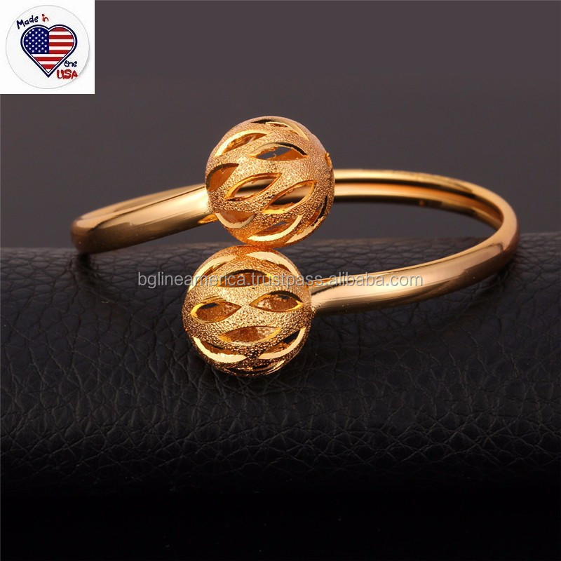 Wholesale Simple Jewelry 18K Real Gold Stainless Steel Expandable Bangle