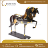 Decorative Antique Pattern Black Horse With Gold Patches Figurine for Homes