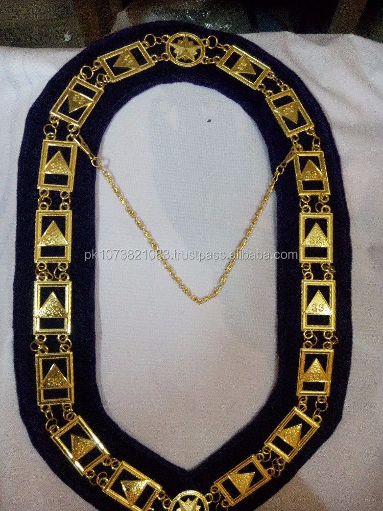 Masonic Chain Collar / Masonic 33 Degree Metal Chain Collar with Blue Velvet with Wholesale Factory Price