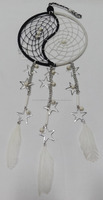 Ying Yang 6 inch Dreamcatcher with metal star hangings and silver chain