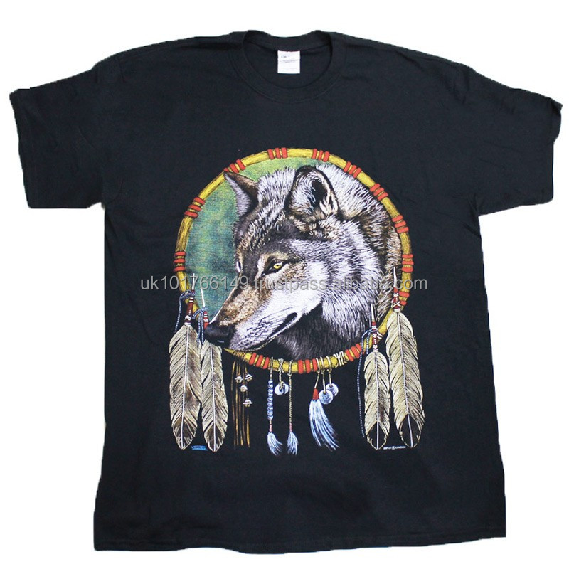 Wolf Dream Catcher Black Cotton T-Shirt Available In All Sizes