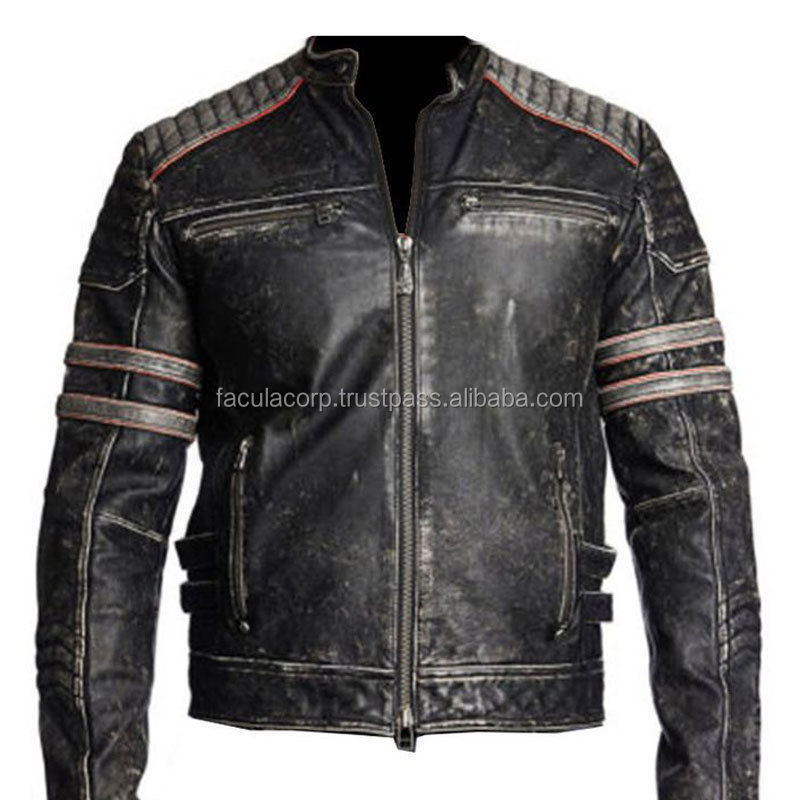 New Fashion Mens Biker Vintage Motorcycle Distressed Black Retro Leather Jacket FC-7856