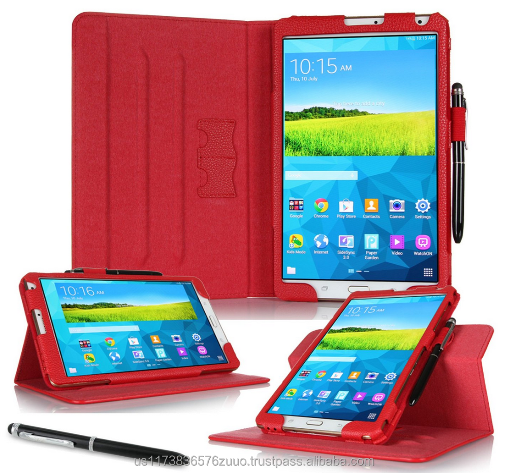 Dual View Slim Fit Premium PU Leather Folio case cover, detach inner sleeve for Galaxy Tab S 8.4 roocase (Red)