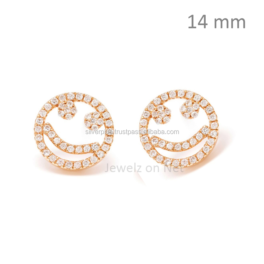 SI Diamonds H Color Smile Studs 18K Rose Gold Earrings Fine jewelry