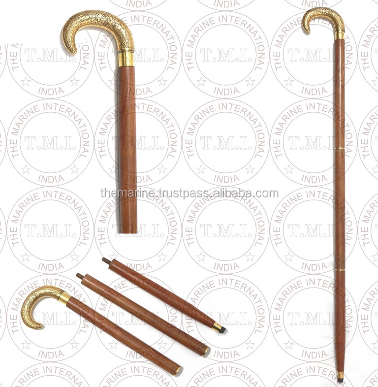 Flower Design Brass Handle Foldable Walking Stick ~ Collectible Walking Cane