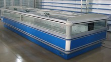 Supermarket Equipment Low-E Sliding Flat Lid Glass door and Open Top Island Chest Display Deep Freezer from China