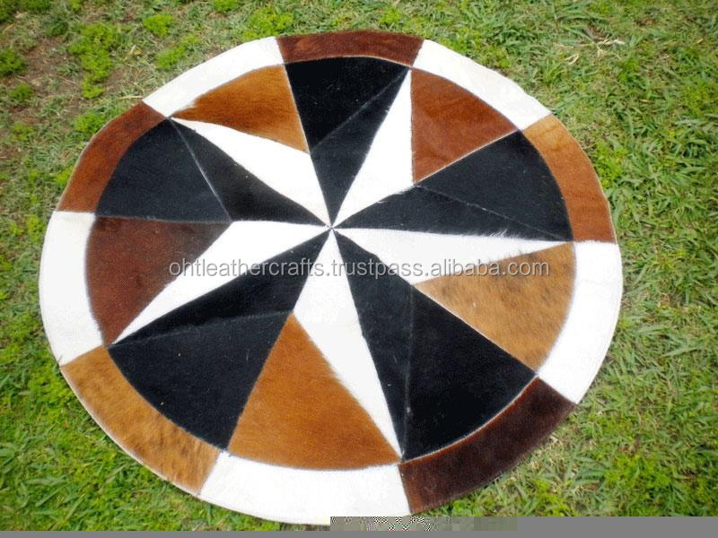 Circular Rug - Genuine Leather - Cow Hair on
