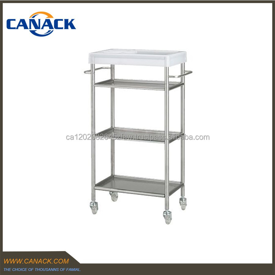 High Quality Unique 3 Tier Stainless Steel Wheel Bathroom Trolley