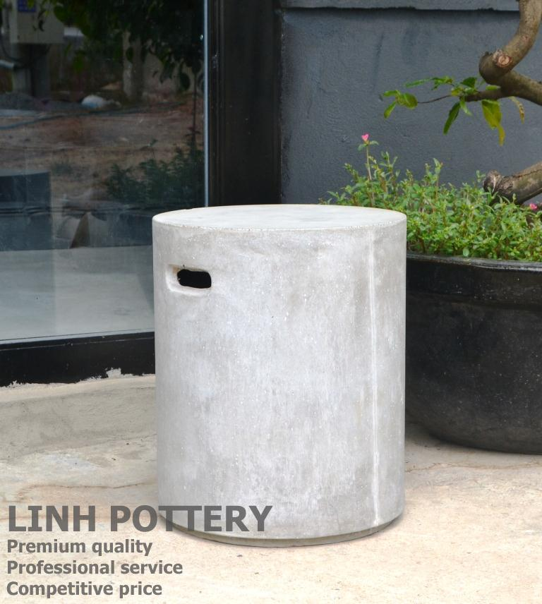 Round Light Vietnam concrete stool/side table with fiber reinforced GFRC