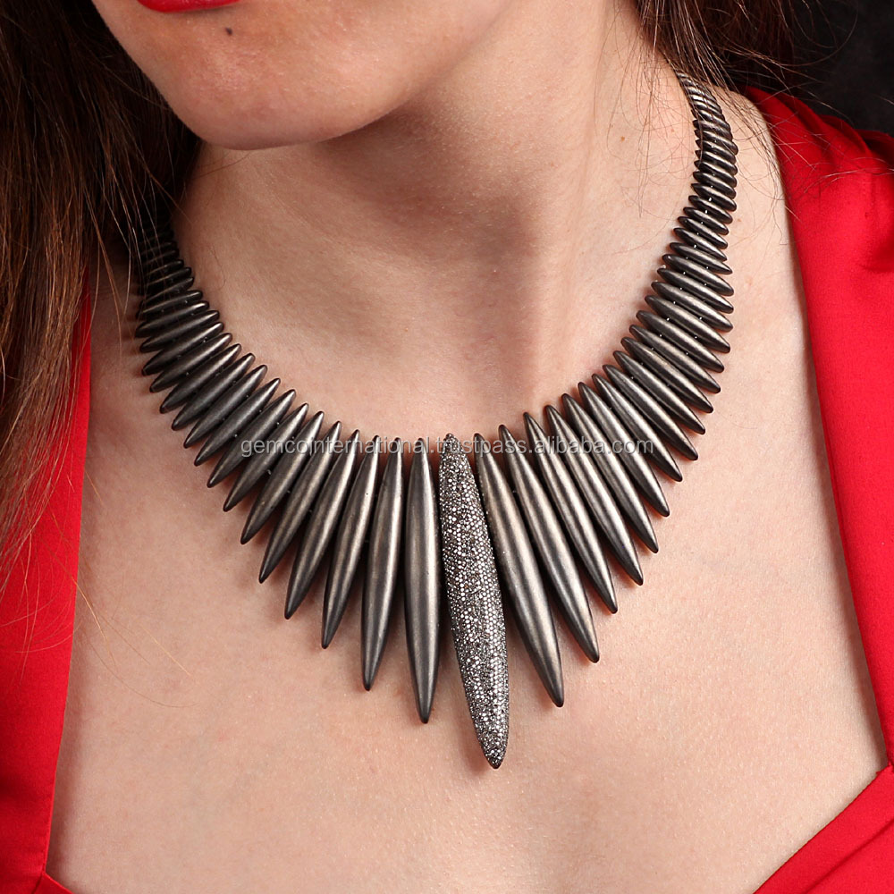Fashion Jewelry Supplier 925 Sterling Silver Pave Diamond Black Rhodium Plated Spike Necklace